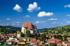 Biertan村庄在特兰西瓦尼亚,罗马尼亚 图库摄影