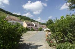 Biertan村庄在特兰西瓦尼亚,罗马尼亚 库存照片