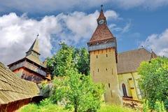 Biertan fortificou a igreja em Romênia imagem de stock