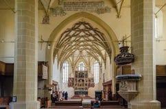 Biertan fortificou o interior da igreja Foto de Stock