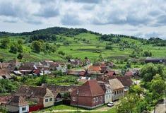 Biertan by i Transylvania fotografering för bildbyråer