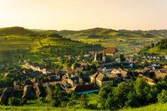Biertan piękna saxon wioska od Transylvania, Rumunia Zdjęcia Stock