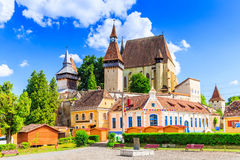 Biertan, Romania. Saxon village with the fortified church in Transylvania stock photo