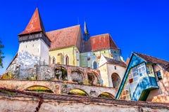 Biertan, Sibiu: Versterkte kerk van de stad, Transsylvanië, Roemenië stock afbeeldingen