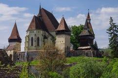 Biertan, Transilvania Pueblo sajón turístico con el chur fortificado fotografía de archivo