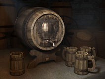 Biervat met cirkels in de kelder Stock Afbeelding