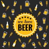Biervektor-Ikonenhintergrund - Flasche, Glas, halbes Liter Lizenzfreie Stockfotografie
