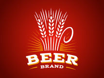 Bierweizenlogo - vector Illustration, Ohremblem auf rotem Hintergrund lizenzfreie abbildung