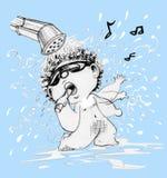 Bierze śpiewacką kreskówkę i prysznic działający charakteru projekt zdjęcia royalty free