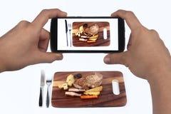 Bierze fotografii wieprzowiny stek z mieszanym warzywem dla części Obraz Stock
