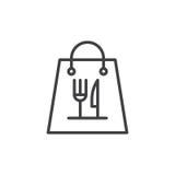Bierze oddaloną papierową karmową torby linii ikonę royalty ilustracja
