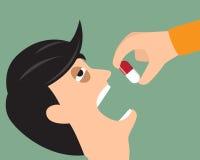 Bierze twój medycyny pojęcie Osoba stawia pastylkę w usta wektor Zdjęcia Royalty Free