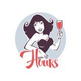 Bierze twój napój i cieszy się nasz szczęśliwe godziny! royalty ilustracja