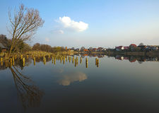 Bierzwnik village, panoramic view reflected on water, hdr proces Royalty Free Stock Image