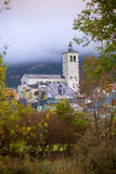 Biescas village in Huesca Aragon Pyrenees of Spain. In foggy morning Royalty Free Stock Photography