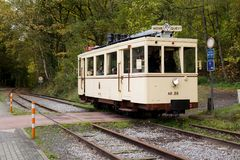 Biesme-Sous-Thuin - October 30: Old heritage streetcar tramway in front of the Haut Marteau station in Biesme-Sous-Thuin. Stock Photos