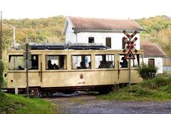 Biesme-Sous-Thuin - October 30: Old heritage streetcar tramway in front of the Haut Marteau station in Biesme-Sous-Thuin. Royalty Free Stock Images