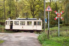 Biesme-Sous-Thuin - October 30: Old heritage streetcar tramway in front of the Haut Marteau station in Biesme-Sous-Thuin. Photo taken on October 30th, 2017 in Royalty Free Stock Photography