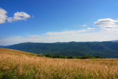 Bieszczady berg, Polonina Wetlinska royaltyfri fotografi