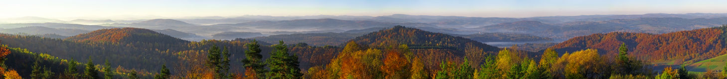 Bieszczady mountains panorama from Wujskie hill Royalty Free Stock Photos