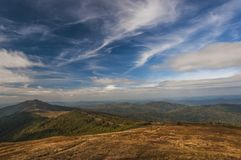 Bieszczady mountains tourism. Bieszczady Mountains in autumn - tourism and landscapes sun day Royalty Free Stock Photography