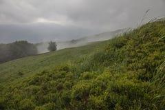 Bieszczadybergen, Zuid-Polen - bewolkte hemel en groene weiden royalty-vrije stock afbeelding