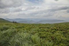 Bieszczadybergen, Zuid-Polen, Europa - groene weiden en bewolkte hemel royalty-vrije stock afbeelding