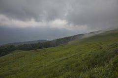 Bieszczadybergen, Zuid-Polen - groene weiden en bewolkte hemel; de zomer van 2018 stock foto