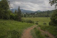 Bieszczadybergen, Zuid-Polen - groene weiden en heuvels royalty-vrije stock afbeeldingen