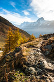 Bietschorn with hiking trail royalty free stock photo