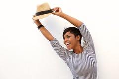 Bifall för ung kvinna med lyftta armar Fotografering för Bildbyråer
