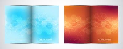 Bifalten-Broschürenschablone mit Hexagonmuster Geometrischer abstrakter Hintergrund von Molekülstrukturen und von Chemikalie vektor abbildung