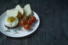 Bife com o ovo frito nas especiarias Decorado com alecrins, a cereja fresca e as fatias de p?o Arquivado em uma placa branca escu foto de stock
