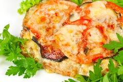 Bife com tomates e beringela Imagens de Stock Royalty Free