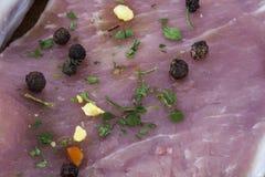 Bife cru com ervas e close up das especiarias Imagens de Stock
