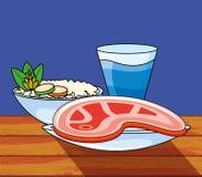 Bife da carne com arroz e bebida ilustração do vetor