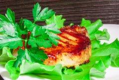 Bife da carne de porco com arroz fritado Fotografia de Stock Royalty Free