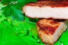 Bife da carne de porco com arroz fritado Fotos de Stock Royalty Free