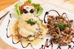 Bife da carne de porco com cogumelos Imagens de Stock