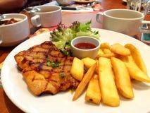 Bife da galinha com vegetais Imagem de Stock Royalty Free