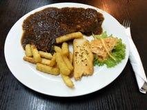 Bife da galinha das pimentas pretas Fotografia de Stock