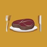 Bife de carne Cutelaria: faca e forquilha Ilustração do vetor Fotos de Stock Royalty Free
