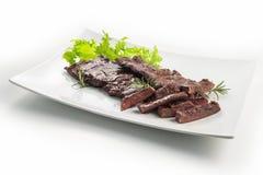 Bife de saia do prato da carne imagem de stock