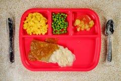Bife de Salisbúria do almoço escolar imagens de stock royalty free