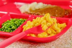 Bife de Salisbúria do almoço escolar fotos de stock