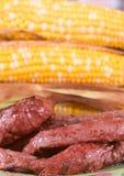 Bife e milho grelhados Imagens de Stock