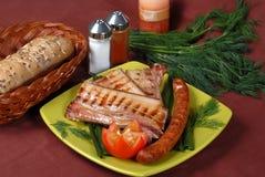 Bife e salsicha Fotografia de Stock