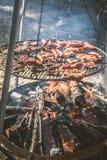 Bife e salsichas do mandril que estão sendo grelhados imagens de stock royalty free