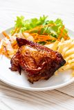 bife grelhado da galinha com vegetal fotos de stock