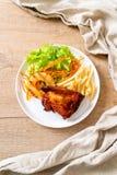 bife grelhado da galinha com vegetal imagem de stock